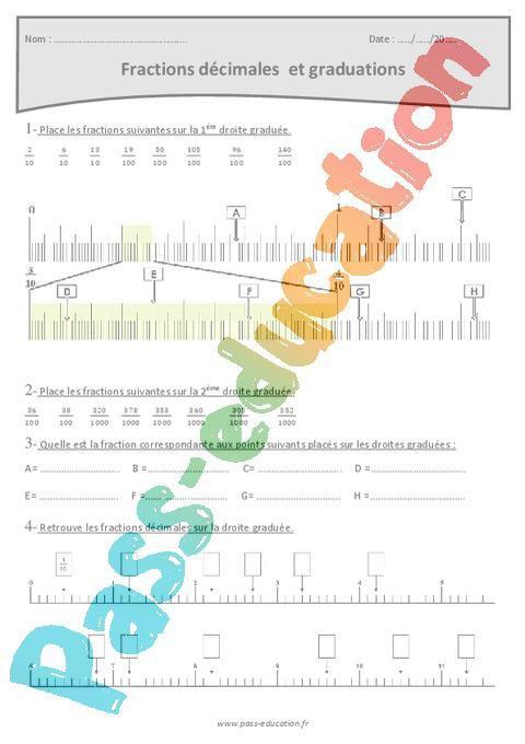 Fractions décimales et graduations - Cm1 - Exercices par ...
