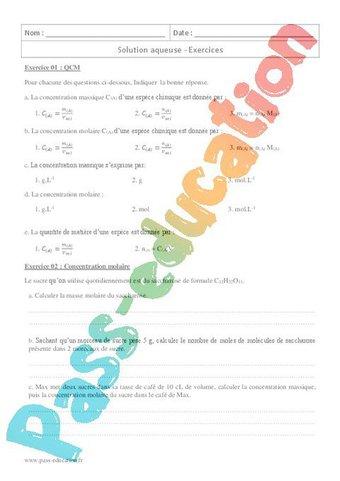 Image de Solution aqueuse – 2nde – Exercices corrigés
