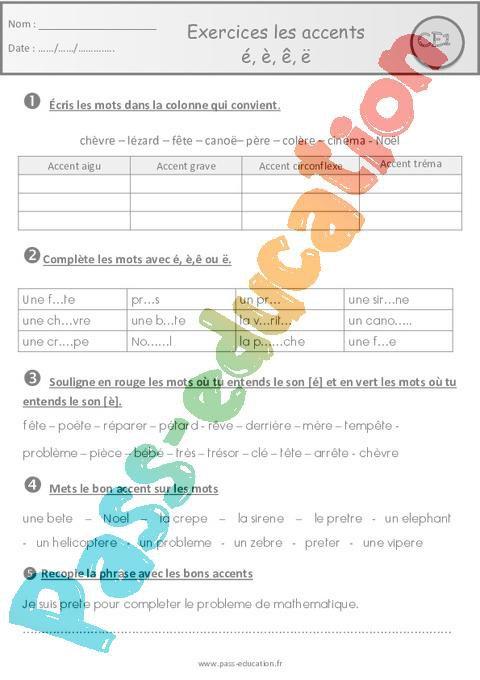 Les accents é, è, ê, ë - Ce1 - Exercices avec les corrections par Pass-education.fr - jenseigne.fr