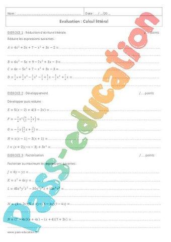 Image de Développement, factorisation – 4ème – Evaluation sur le calcul littéral