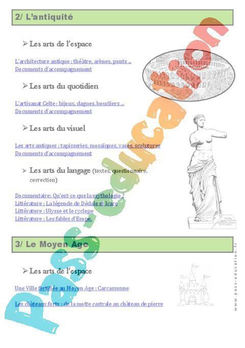 280c42c06ad Histoire de l art – Programme – Ce2 – Cm1 – Cm2 – Exercices – Documentaires  – Cycle 3 par Pass-education.fr - jenseigne.fr