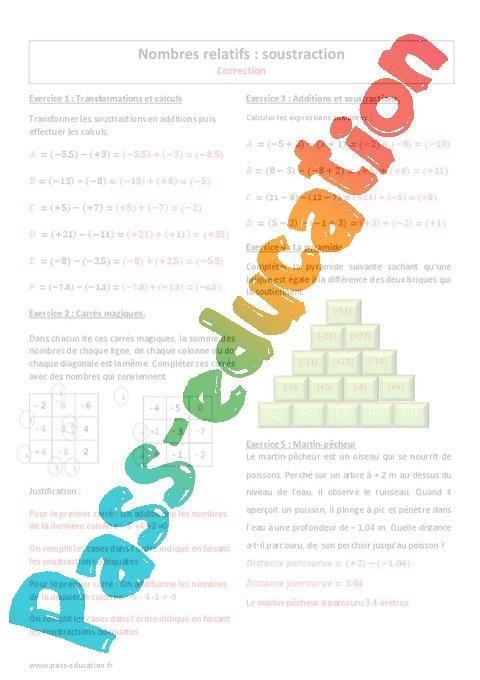 Nombres Relatifs Soustraction 5eme Exercices A Imprimer Par Pass Education Fr Jenseigne Fr