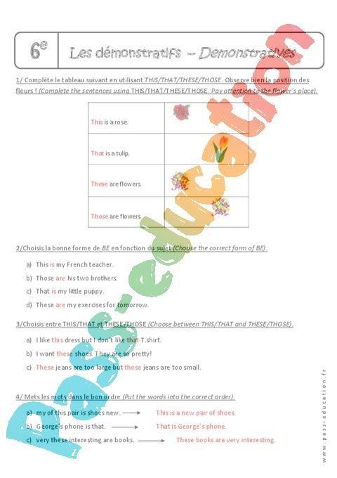 Pronoms démonstratifs - 6ème - Exercices corrigés - This ...