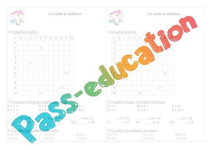 Table D Addition Ce1 Exercices Calcul Par Pass Education Fr Jenseigne Fr