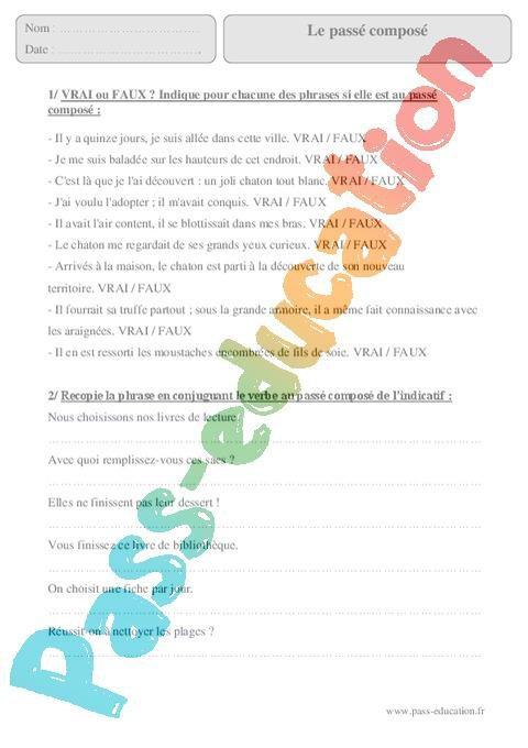 Passe Compose Cm2 Exercices Corriges Conjugaison