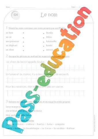 Image de Noms propres – Noms communs – Ce1 – Exercices avec correction