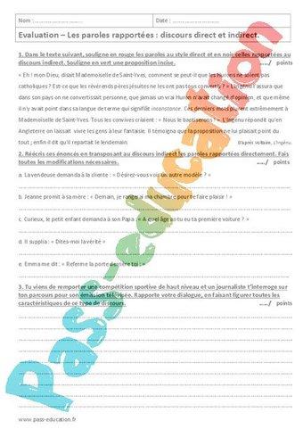 Image de Paroles rapportées – Discours direct et indirect – 4ème – Contrôle