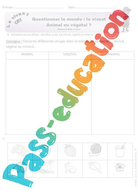Animal, végétal ou minéral - CE1 - Exercices à imprimer par Pass-education.fr - jenseigne.fr