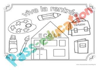 Image de Vive la rentrée – Coloriage – Jeux de la rentrée – Maternelle – Petite, moyenne et grande section – PS – MS – GS