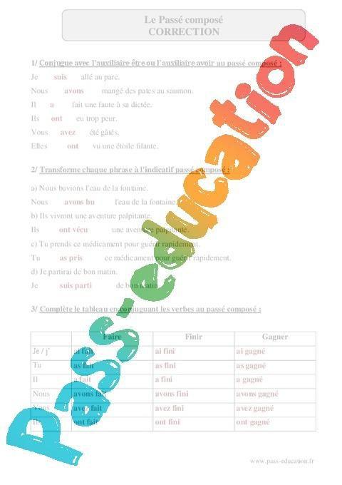 Passe Compose Cm2 Exercices Corriges Conjugaison Francais Cycle 3 Par Pass Education Fr Jenseigne Fr