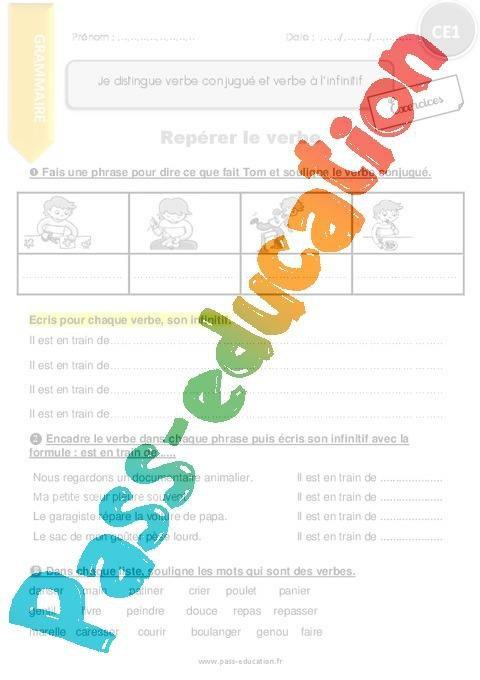 Je Distingue Verbe Conjugue Et Verbe A L Infinitif Ce1 Exercices Avec Correction Par Pass Education Fr Jenseigne Fr
