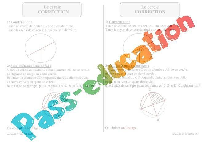 Cercle Ce2 Exercices Corriges Geometrie Par Pass Education Fr Jenseigne Fr
