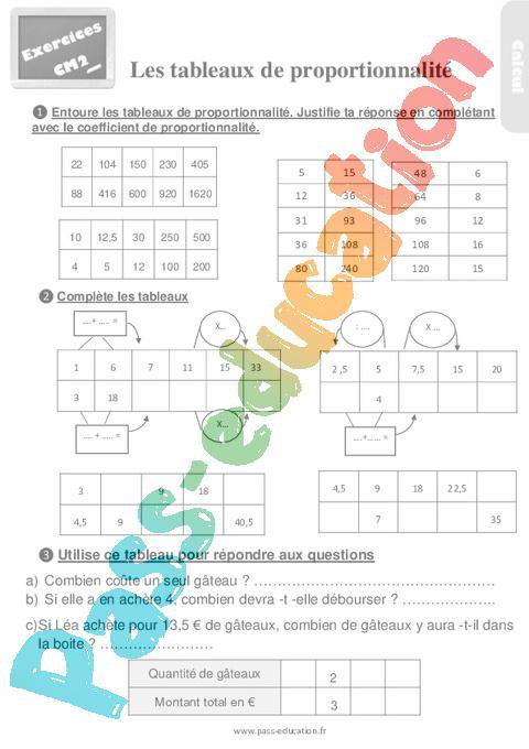 Exercices Revisions Sur Decouvrir Les Tableaux De Proportionnalite Cm2 Avec Les Corriges Par Pass Education Fr Jenseigne Fr