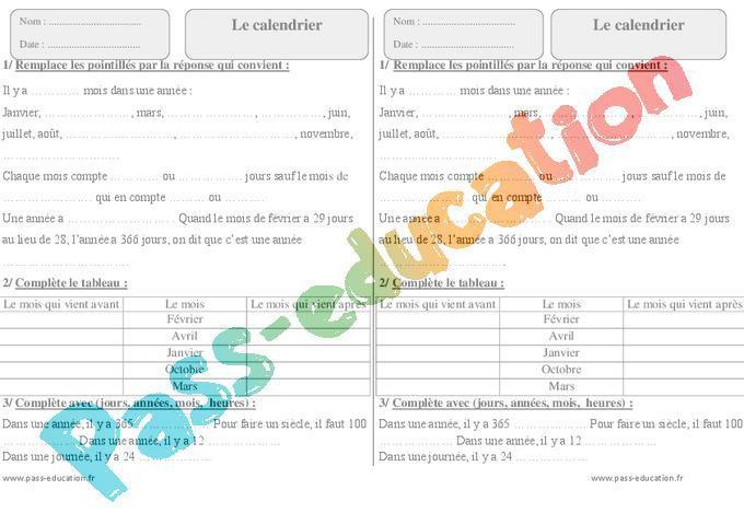 Calendrier Ce1 Exercices.Calendrier Ce1 Exercices A Imprimer Par Pass Education