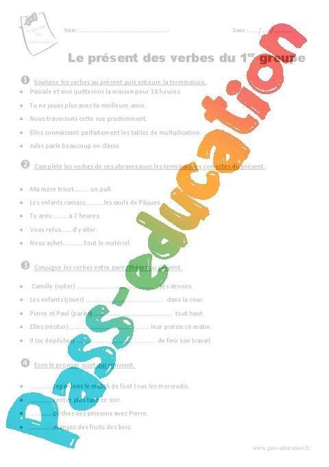 Verbes Du 1er Groupe Au Present Ce2 Exercices Avec Le Corrige Par Pass Education Fr Jenseigne Fr