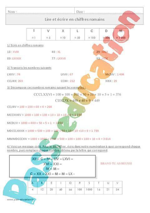 Lire et écrire en chiffres romains - Cm1 - Exercices corrigés - Numération - Mathématiques ...