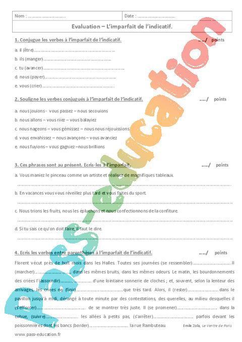 Imparfait 6eme Evaluation A Imprimer Par Pass Education Fr