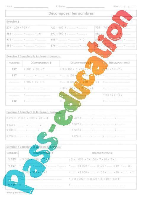 Decomposer Les Nombres Exercices Corriges Ce2 Cm1 Numeration Cycle 3 Par Pass Education Fr Jenseigne Fr