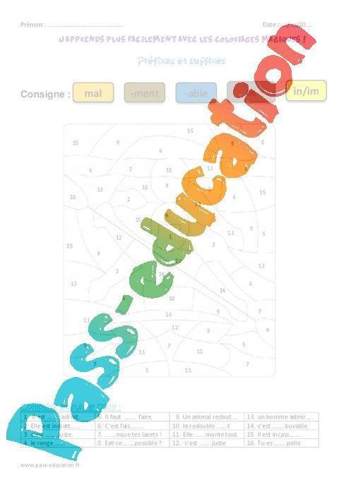 Prefixes Et Suffixes Ce2 Coloriage Magique Par Pass Education Fr Jenseigne Fr