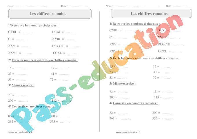 Chiffres Romains Ce2 Exercices A Imprimer Par Pass Education Fr