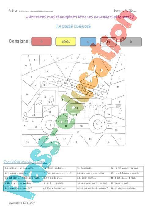 Passe Compose Verbes Du 1er Groupe Cm1 Coloriage Magique Par