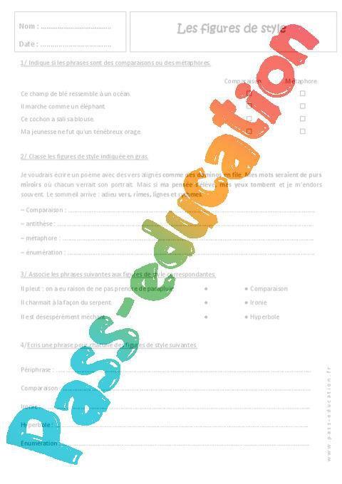 Figures De Style 4eme Exercices Corriges Par Pass Education Fr Jenseigne Fr