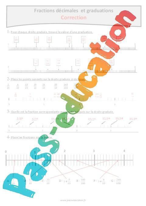 Graduations Et Fractions Decimales Cm1 Exercices A Imprimer Par Pass Education Fr Jenseigne Fr