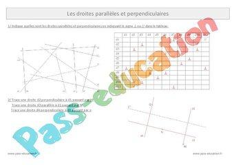 Droites perpendiculaires - Droites parallèles - Cm1 - Exercices corrigés par Pass-education.fr ...