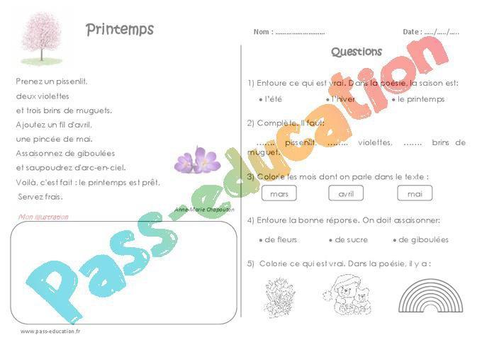 Printemps Ce1 Poésie Par Pass Educationfr Jenseignefr