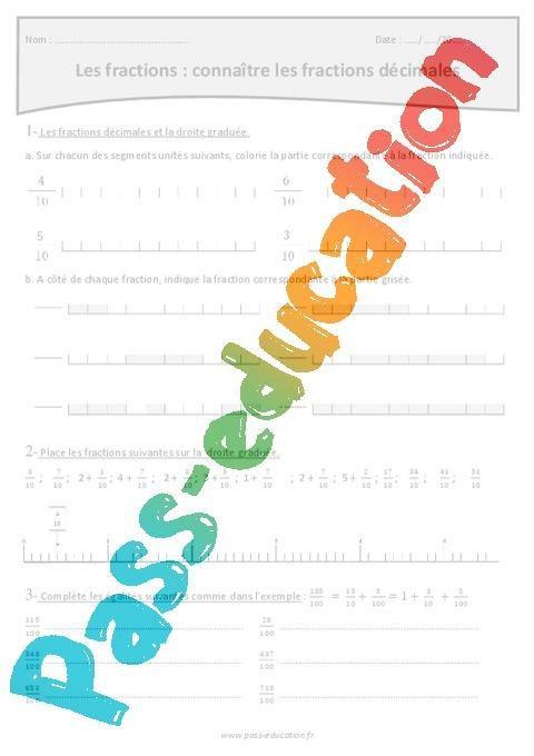 Connaitre Les Fractions Decimales Cm2 Exercices Avec Correction Par Pass Education Fr Jenseigne Fr