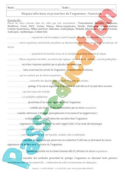 Risques infectieux et protection de l'organisme - 3ème ...