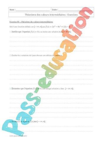 Image de Théorème des valeurs intermédiaires – Terminale – Exercices à imprimer