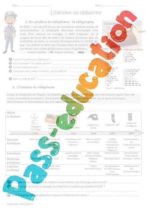 Origine Et Histoire Du Telephone Cm1 Cm2 Exercices Par Pass Education Fr Jenseigne Fr