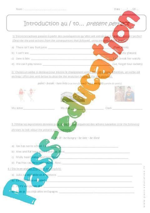 Present Perfect 5eme Exercices Corriges En Anglais Par Pass Education Fr Jenseigne Fr