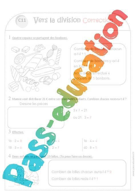 Vers La Division Ce1 Exercices A Imprimer Par Pass Education Fr Jenseigne Fr