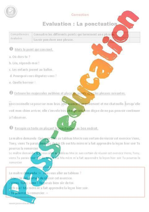 Signes De Ponctuation Ce2 Evaluation A Imprimer Par Pass Education Fr Jenseigne Fr