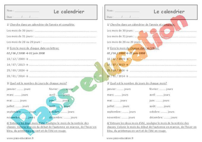 Calendrier Ce1 Exercices.Calendrier Ce1 Exercices Jours Semaines Mois Annee