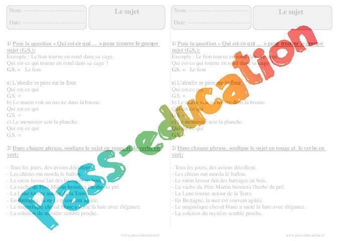 Sujet Ce2 Exercices A Imprimer Par Pass Education Fr Jenseigne Fr