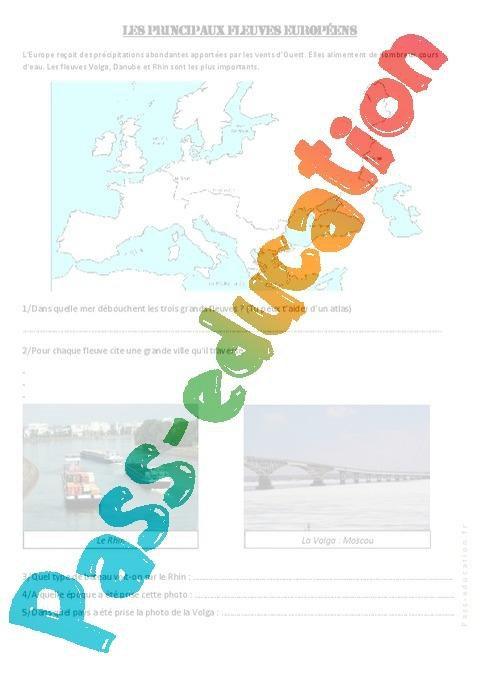 Les principaux fleuves européens - Cm1 cm2 - Exercices ...