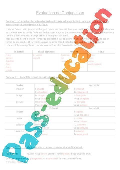 Imparfait Cm1 Cm2 Evaluation Par Pass Education Fr Jenseigne Fr
