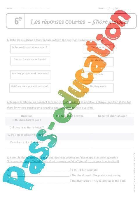 Yes No Questions 6eme Exercices Phrase Interrogative Par Pass Education Fr Jenseigne Fr