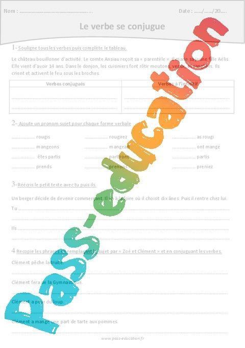 Verbes Conjugues Verbes A L Infinitif Cm1 Exercices Avec Correction Par Pass Education Fr Jenseigne Fr