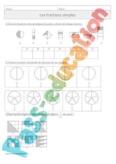 Fractions simples - Cm1 - Exercices corrigés - Numération - Mathématiques - Cycle 3 par Pass ...