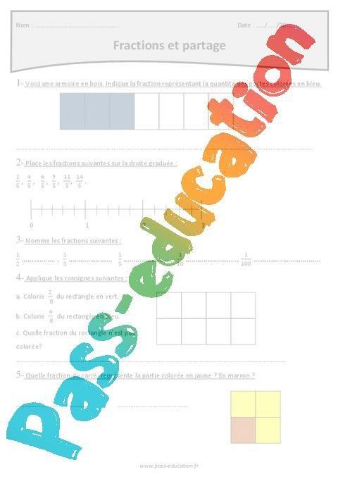 Fractions Et Partage Cm1 Exercices Corriges Par Pass Education Fr Jenseigne Fr