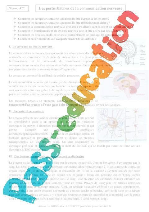 Perturbations de la communication nerveuse - 4ème - Cours ...