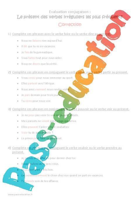 Present Des Verbes Irreguliers Ce2 Bilan Avec Correction Par Pass Education Fr Jenseigne Fr
