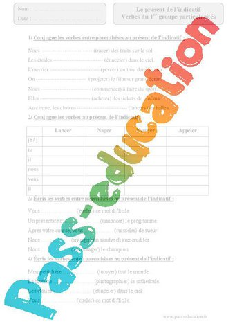 Image de Verbes du 1er groupe ,particularités – Présent de l'indicatif – Cm2 – Exercices corrigés – Conjugaison – Cycle 3