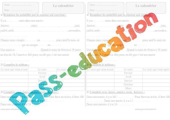 Calendrier Ce1 Exercices A Imprimer Par Pass Education Fr Jenseigne Fr