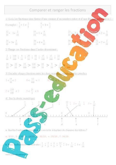 Comparer Et Ranger Les Fractions Cm1 Exercices Avec Correction Par Pass Education Fr Jenseigne Fr