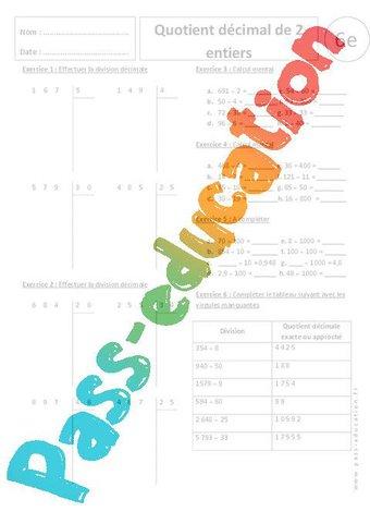 Image de Quotient décimal de 2 entiers – 6ème – Exercices corrigés – Divisions